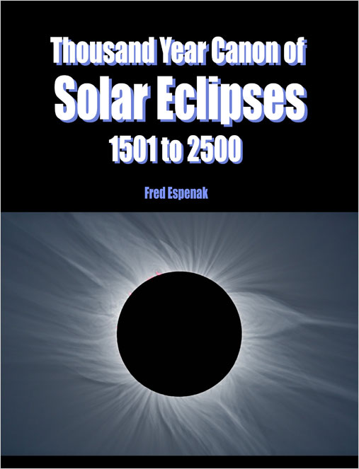 The Thousand Year Canon of Solar Eclipses: 1501 - 2500 contains individual maps and data for each of the 2,389 solar eclipses occurring over the 1,000-year period centered on the present. For more information, see Thousand Year Canon of Solar Eclipses: 1501 to 2500.
