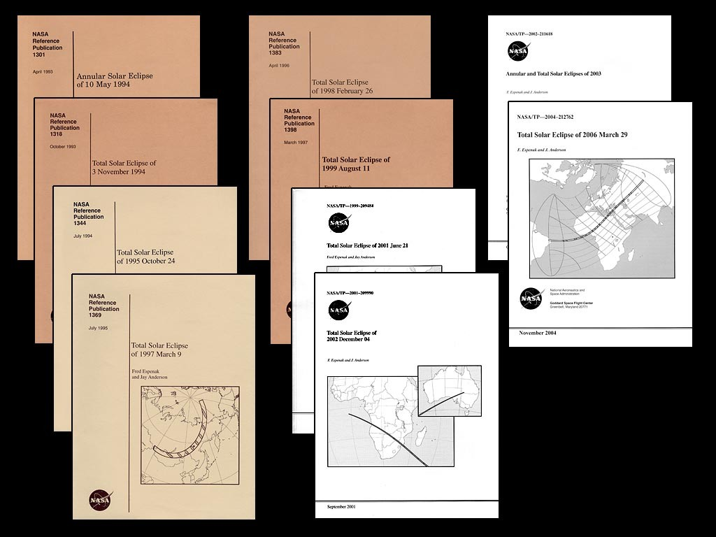 These are the covers of the first 10 NASA eclipse bulletins published by Espenak and Anderson. All 13 bulletins are still available to download at: NASA Eclipse Bulletins