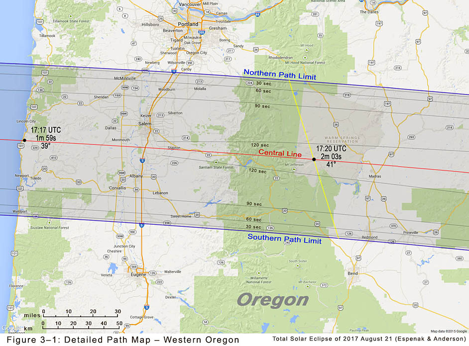 The 2017 Eclipse Bulletin features a set of high-resolution maps of the umbral eclipse path across the USA. This one shows the path through western Oregon and includes many cities and towns as well as major roads and highways.