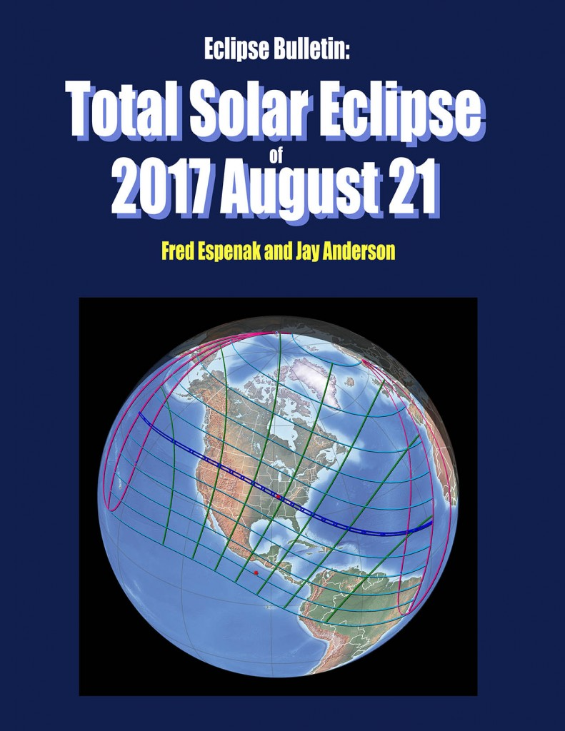 Eclipse Bulletin: Total Solar Eclipse of 2017 August 21 contains detailed maps and local circumstances for over 1300 cities. It will become available to order on May 14, 2015.