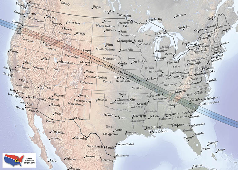 Michael Zeiler of GreatAmericanEclipse.com has created some beautiful maps of the umbral eclipse path for the 2017 Eclipse Bulletin.