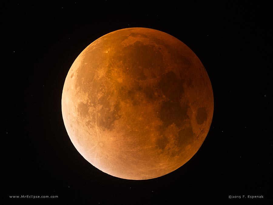 The last eclipse of the Moon visible from the USA occurred on the night of Sept. 27/28, 2015. It was a total eclipse as the Moon passed completely inside Earth's dark umbral shadow. ©2015 by Fred Espenak, MrEclipse.com.