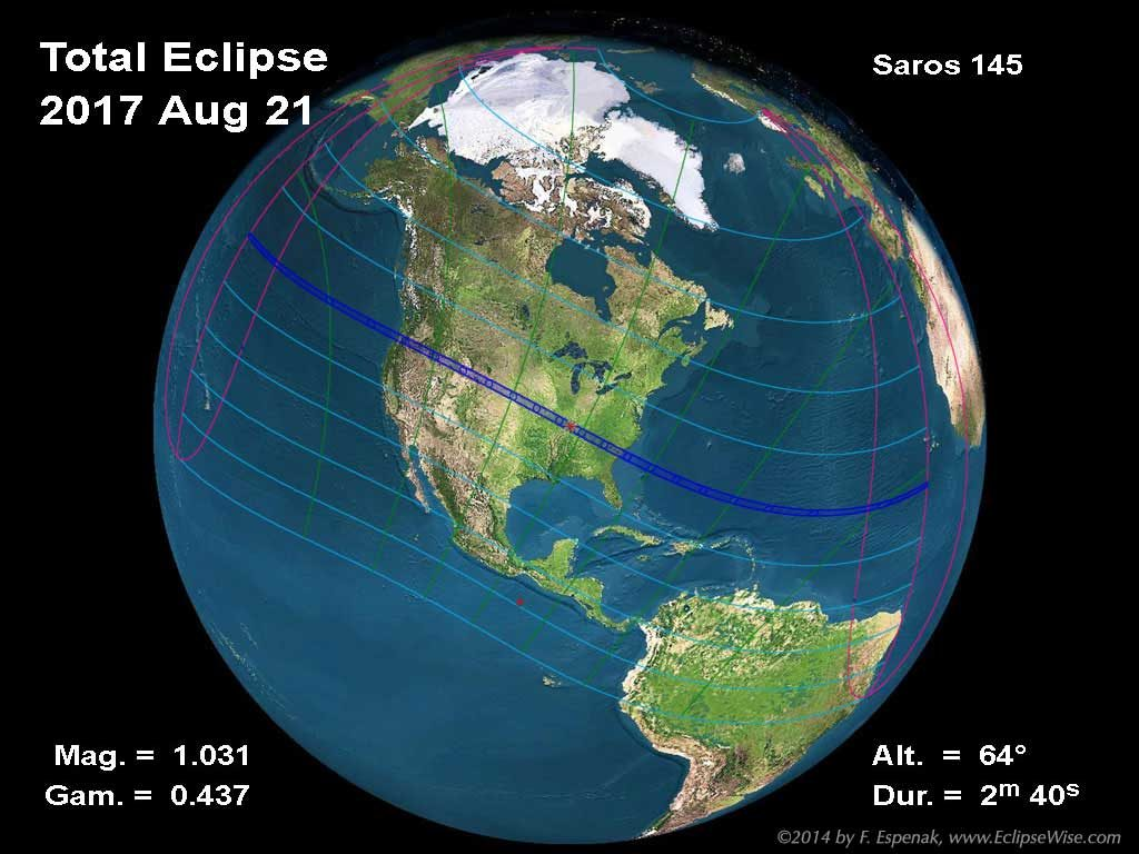 The total solar eclipse of August 21, 2017 is the first total eclipse visible from the continental USA since 1979. For more information see the special EclipseWise web page on the 2017 eclipse.