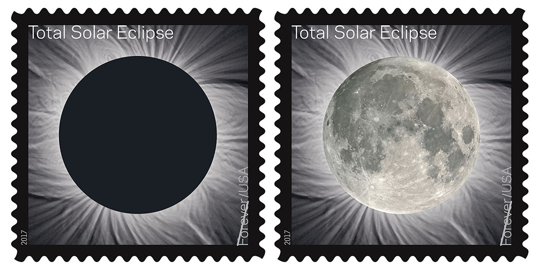 The Total Eclipse of the Sun, Forever® stamp transforms into an image of the Moon from the heat of a finger. The stamp commemorates the total solar eclipse of August 21, 2017 that crosses the USA.