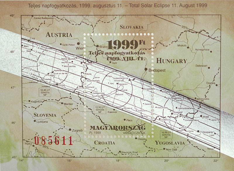 Postage stamp from Hungary uses Espenak's eclipse bulletin map to commemorate the 1999 total solar eclipse through Europe.