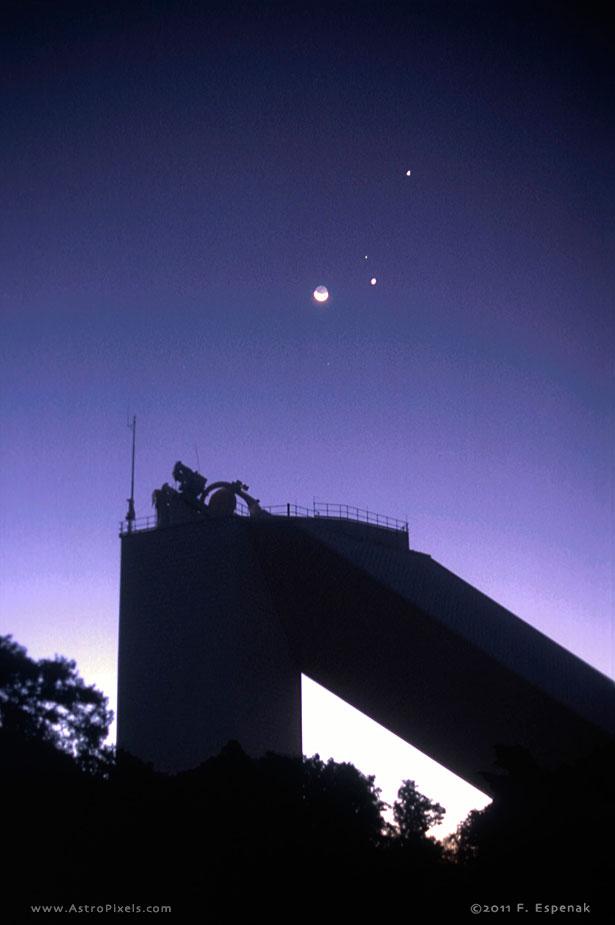 Crescent Moon And Mcmath Pierce Solar Telescope